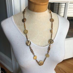 Les Bernard Vintage Gold Coin Necklace